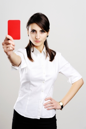 Girl with red card